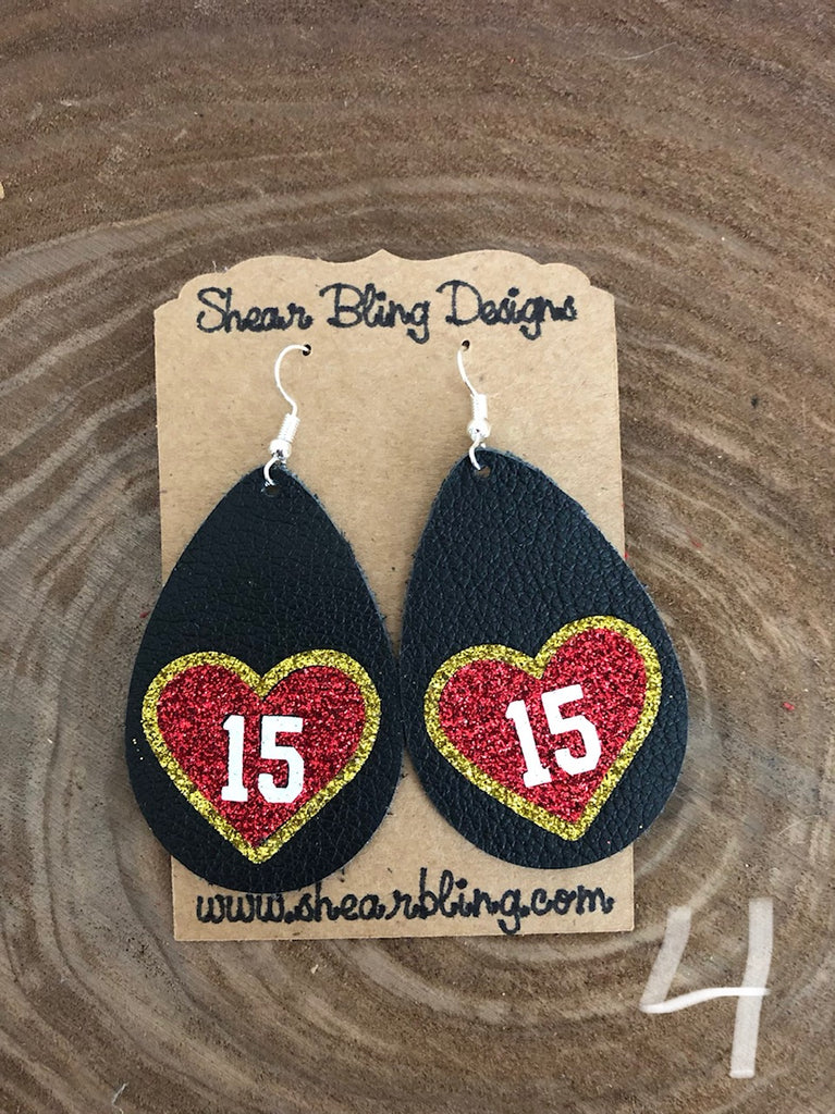 White/Red/Gold Glitter 15 Heart on Large size Black Teardrop Leather Earrings Sports
