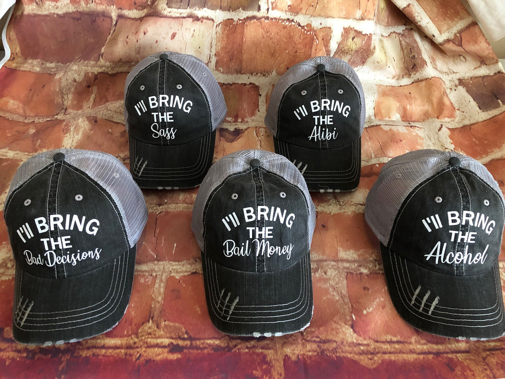 "Set of 5 White Glitter ""I'll Bring The......""Design on a Distressed Grey Trucker Cap"