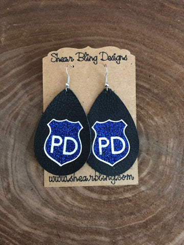 Blue/White Glitter Police Badge Design on Black Teardrop Genuine Leather Earrings