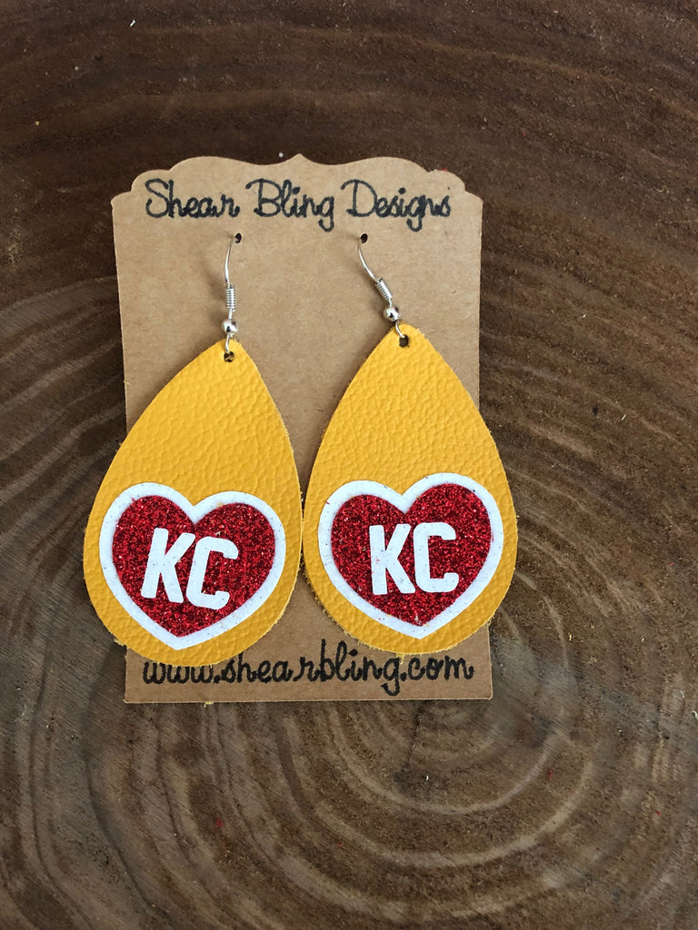 White/Red Glitter KC Heart on Large size Yellow Teardrop Genuine Leather Earrings Sports