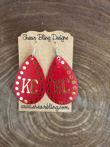 Gold Metallic KC on Red Teardrop Leather Earrings Sports