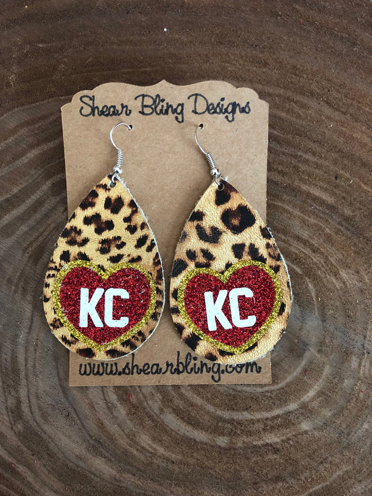 Red/White/Gold Glitter KC Heart on Leopard Large Teardrop Leather Earrings Sports