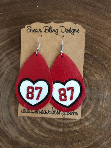 White/Red/Black Glitter 87 Heart on Large Red Teardrop Leather Earrings Sports
