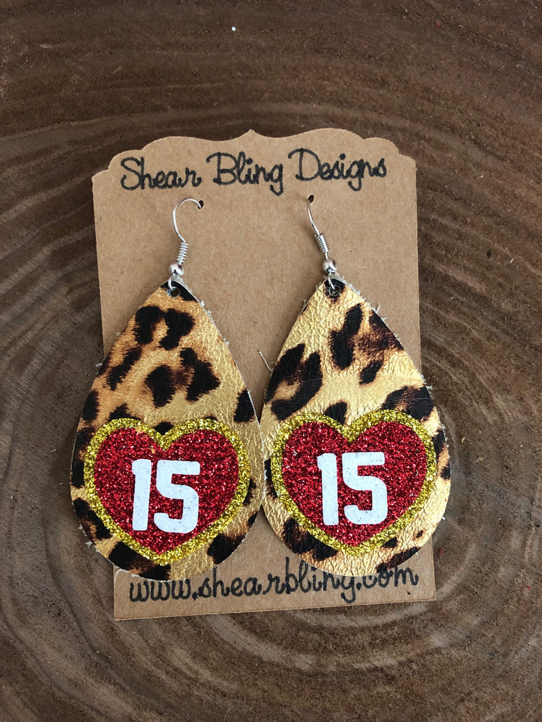 Red/White/Gold Glitter 15 Heart on Leopard Large Teardrop Leather Earrings Sports