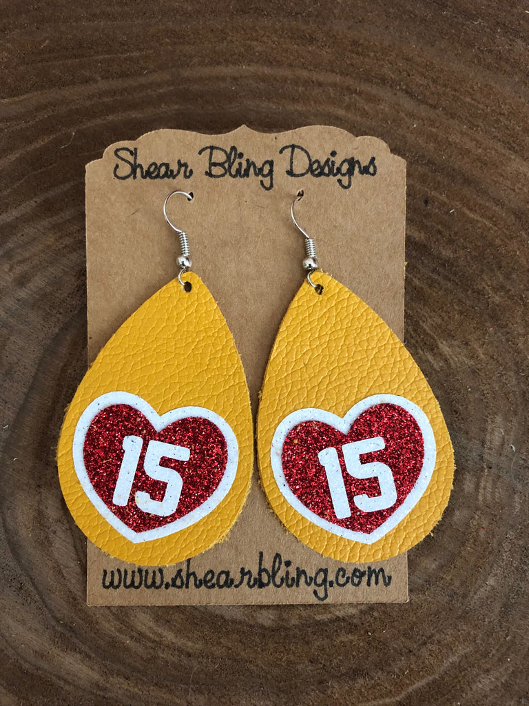 White/Red Glitter 15 Heart on Large size Yellow Teardrop Leather Earrings Sports