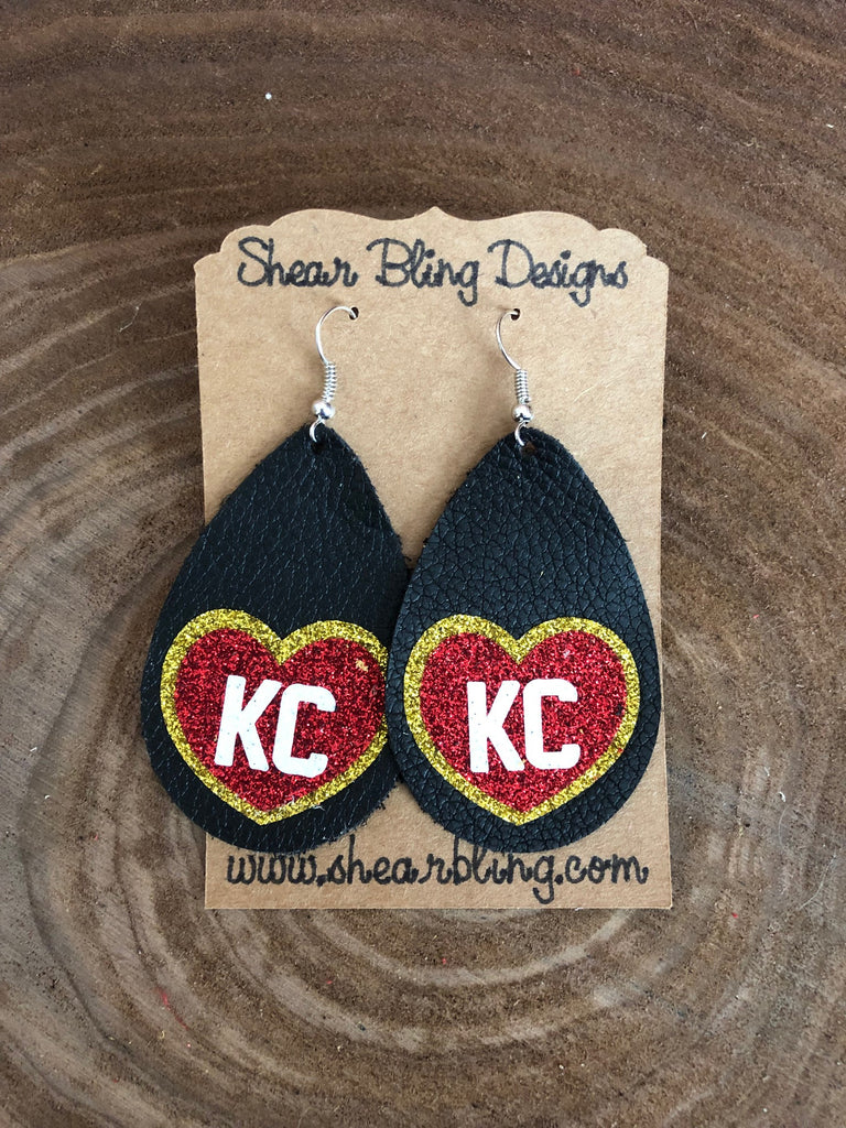 Red/White/Gold Glitter KC Heart on Large Black teardrop leather earrings