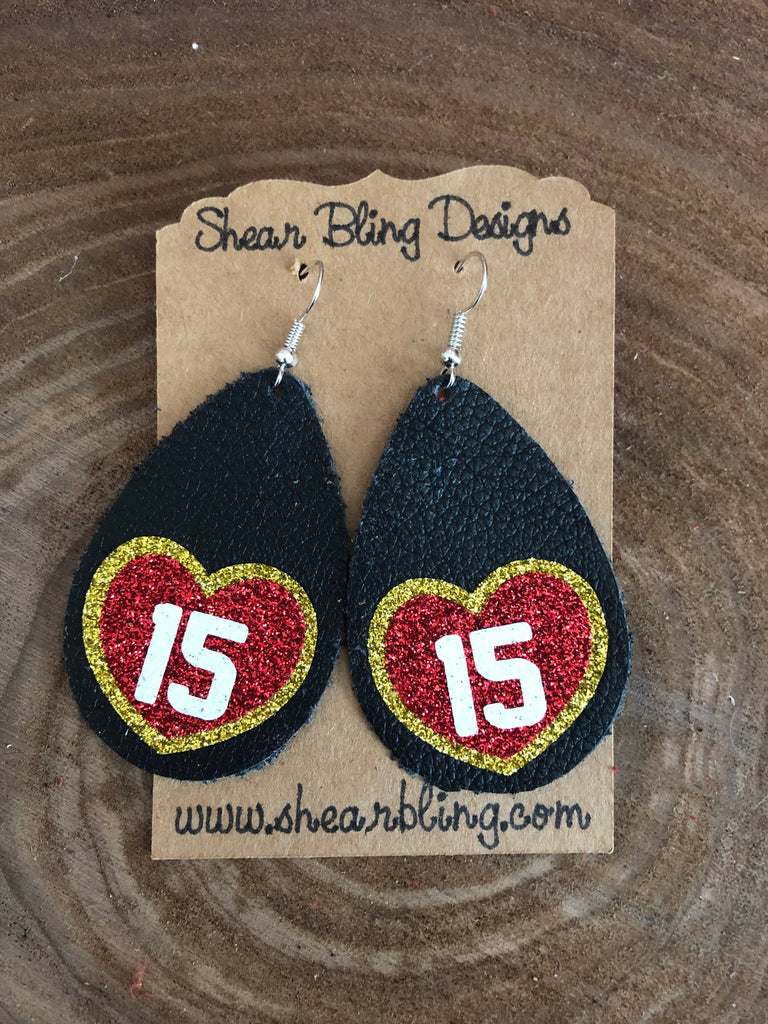 Red/White/Gold Glitter 15 Heart on Large Black teardrop leather earrings
