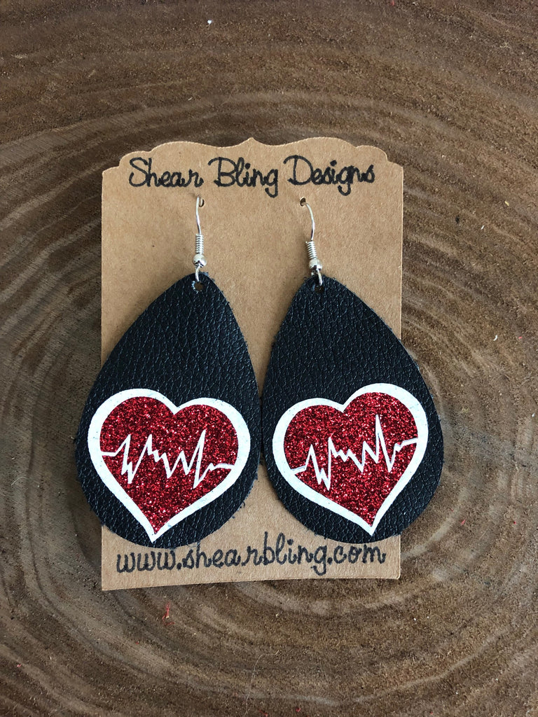 Red/White Glitter Nurse Heart Design on Black Teardrop Genuine Leather Earrings