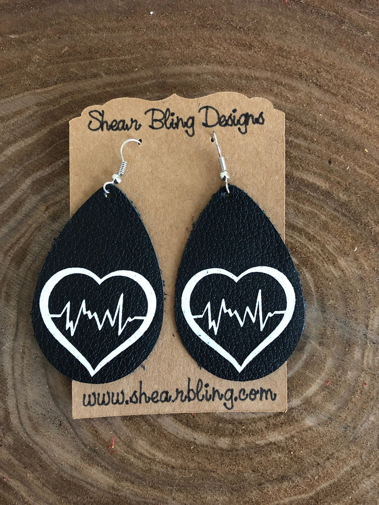 White Glitter Nurse Heart Design on Black Teardrop Genuine Leather Earrings