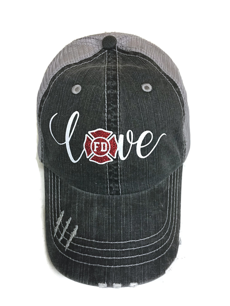 White glitter vinyl Firefighter Love Design on Distressed look Mesh Back Trucker Cap