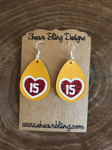 Red/White Glitter 15 Heart on Small Yellow Teardrop Leather Earrings Sports