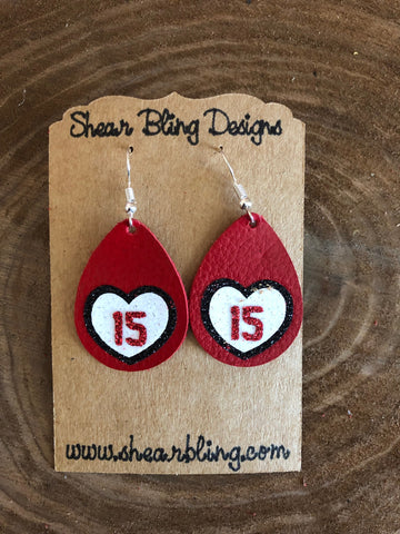 Red/White/Black Glitter 15 Heart on Small Red Teardrop Leather Earrings Sports