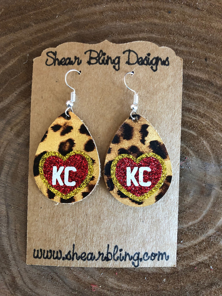Red/White/Gold Glitter KC Heart on Small Leopard Teardrop Leather Earrings Sports