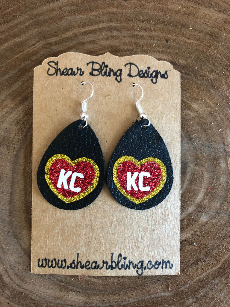 Red/White/Gold Glitter KC Heart on Small Black Teardrop Leather Earrings Sports