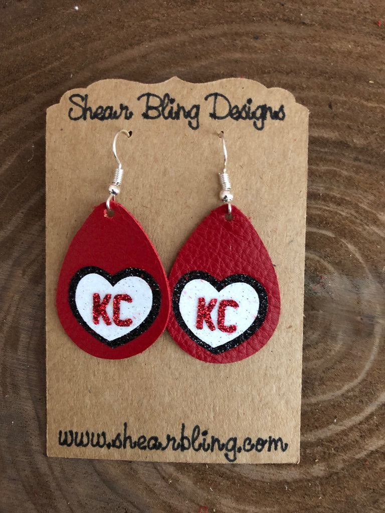 Red/White/Black Glitter KC Heart on Small Red Teardrop Leather Earrings Sports