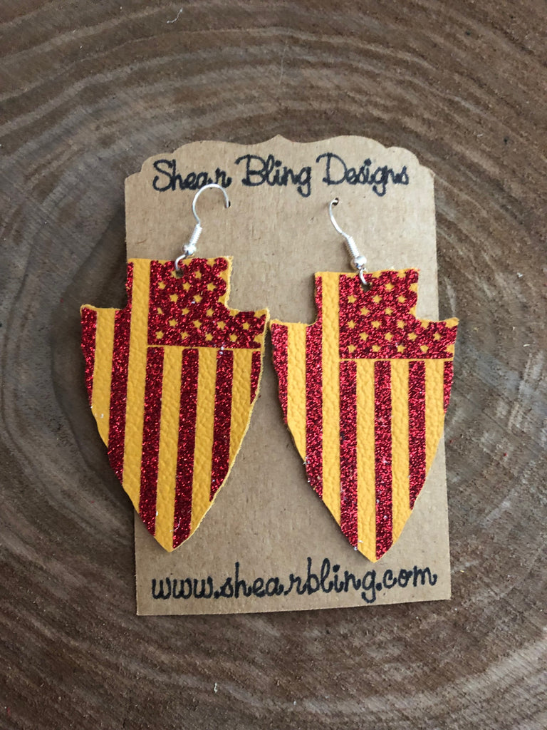 Red Glitter Stars and Stripes on Yellow Arrowhead Leather Earrings Sports