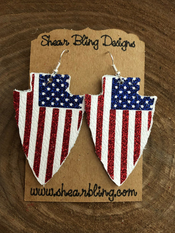 Red/White/Blue Glitter Stars and Stripes on White Arrowhead Leather Earrings Sports