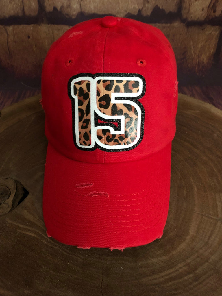 White/Black glitter/Leopard 15 on Distressed Red Baseball Cap