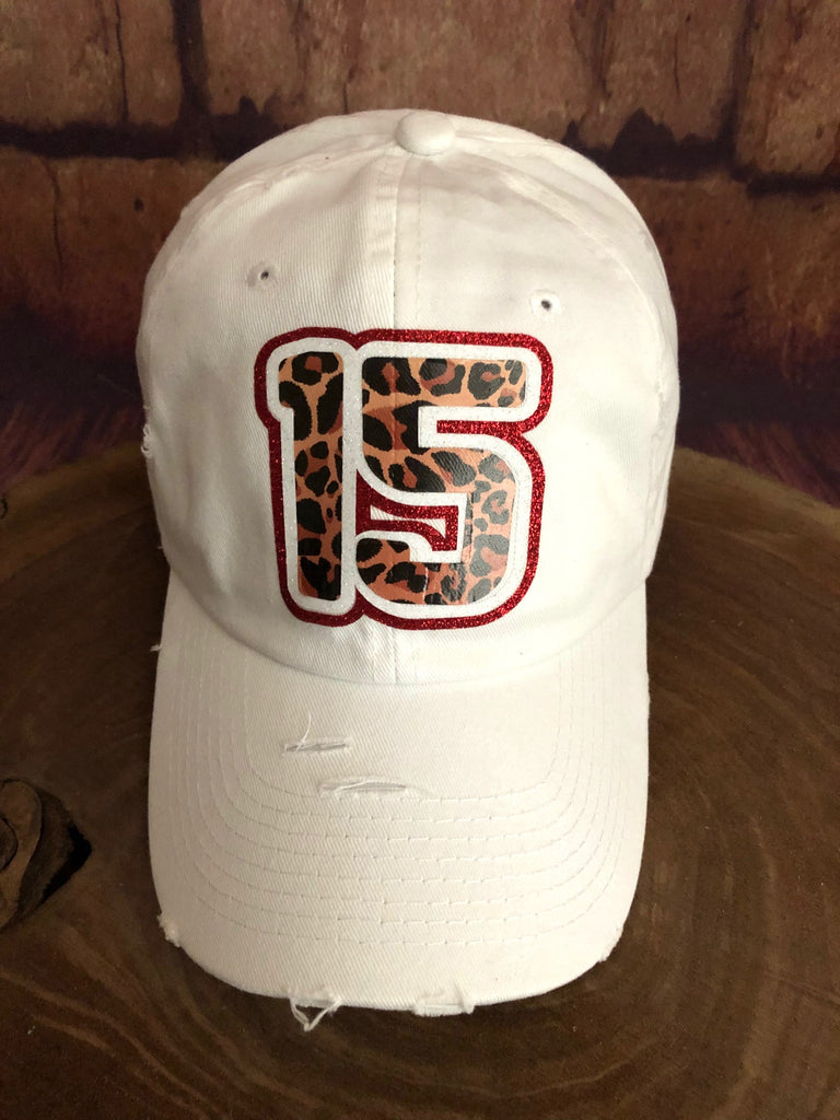 White/Red glitter/Leopard 15 on Distressed White Baseball Cap