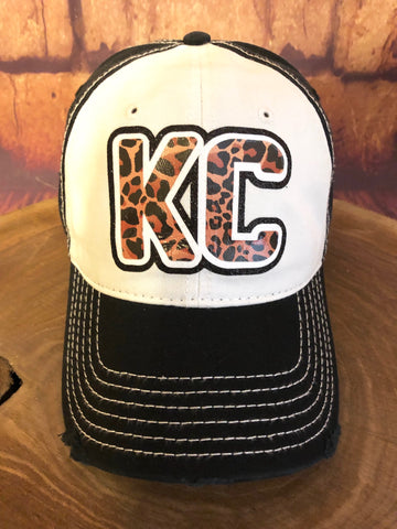 White/Black Glitter/Leopard KC on a Distressed White/Black Baseball Cap