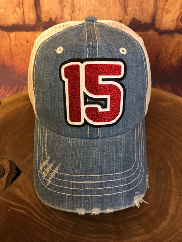 Red/White/Black glitter 15 on Distressed Denim/White Trucker Cap Sports