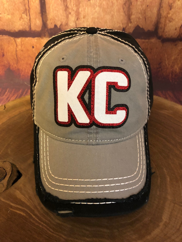Red/White/Black glitter KC on Distressed Grey/Black Baseball Cap