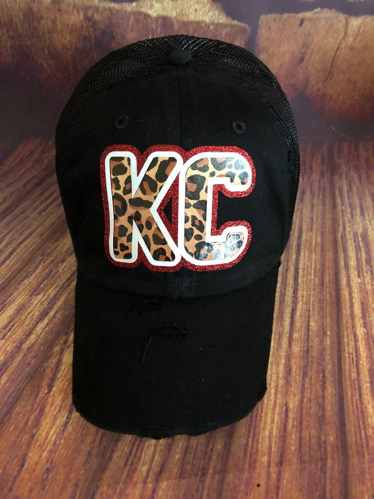 Red/White glitter/Leopard KC on Distressed Black Mesh Back Trucker Cap
