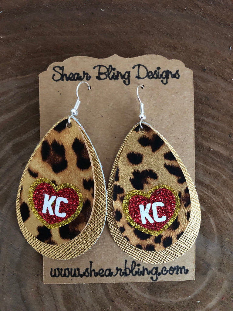 Red/White/Gold Glitter KC Heart on Double Layered Leopard and Gold Large Teardrop Leather Earrings Sports