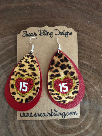 Red/White/Gold Glitter KC Heart on Double Layered Leopard and Red Large Teardrop Leather Earrings Sports