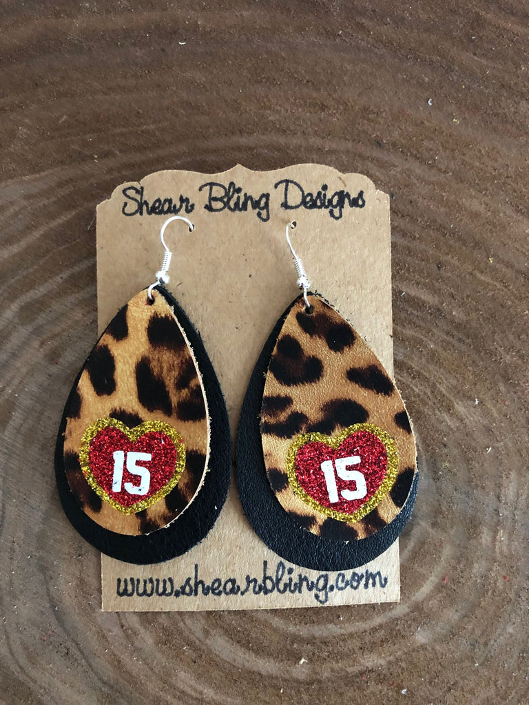 Red/White/Gold Glitter 15 Heart on Double Layered Leopard and Black Large Teardrop Leather Earrings Sports