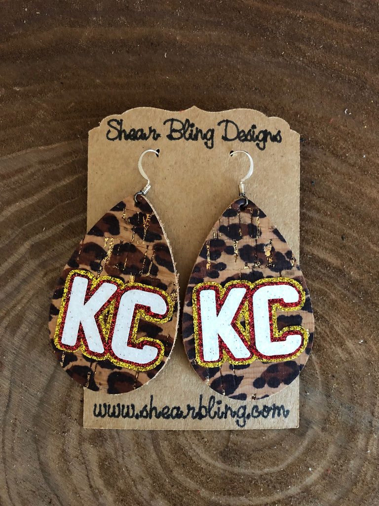 White/Gold/Red Glitter KC Letters on Large Teardrop Leopard Cork Genuine Leather Earrings Sports