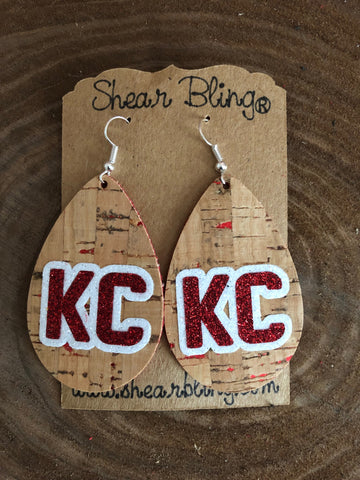 White/Red Glitter KC Letters on Large Teardrop Natural Cork Genuine Leather Earrings Sports