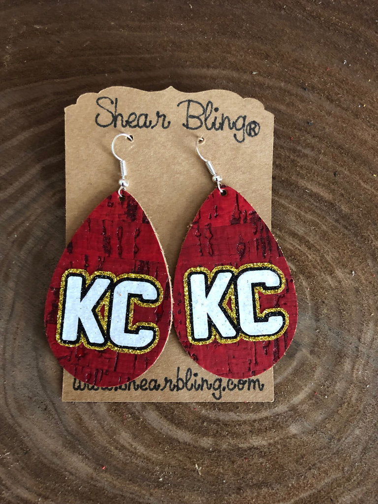 White/Gold/Black Glitter KC Letters on Large Teardrop Red Cork Genuine Leather Earrings Sports