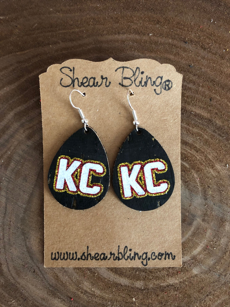 White/Gold/Red Glitter KC Letters on Small Teardrop Black Cork Genuine Leather Earrings Sports