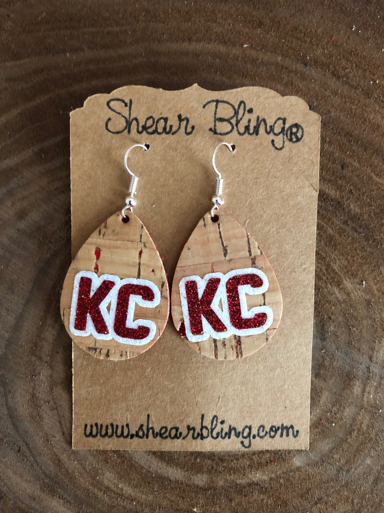 White/Gold/Red Glitter KC Letters on Small Teardrop Natural Cork Genuine Leather Earrings Sports