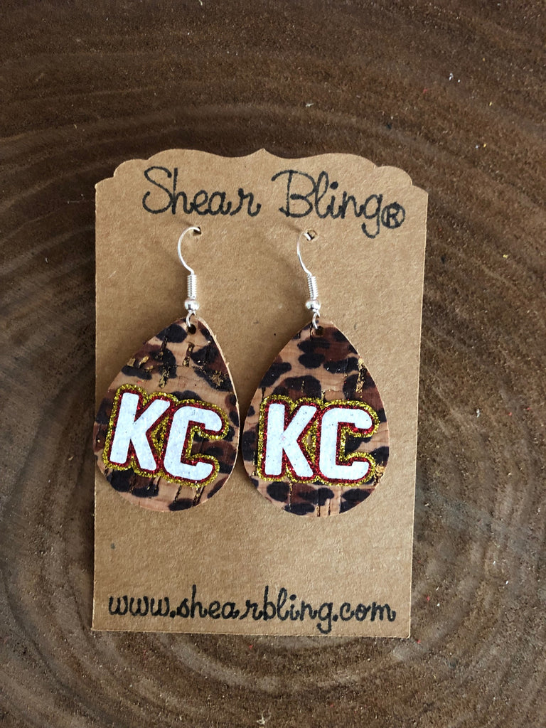 White/Gold/Red Glitter KC Letters on Small Teardrop Leopard Cork Genuine Leather Earrings Sports