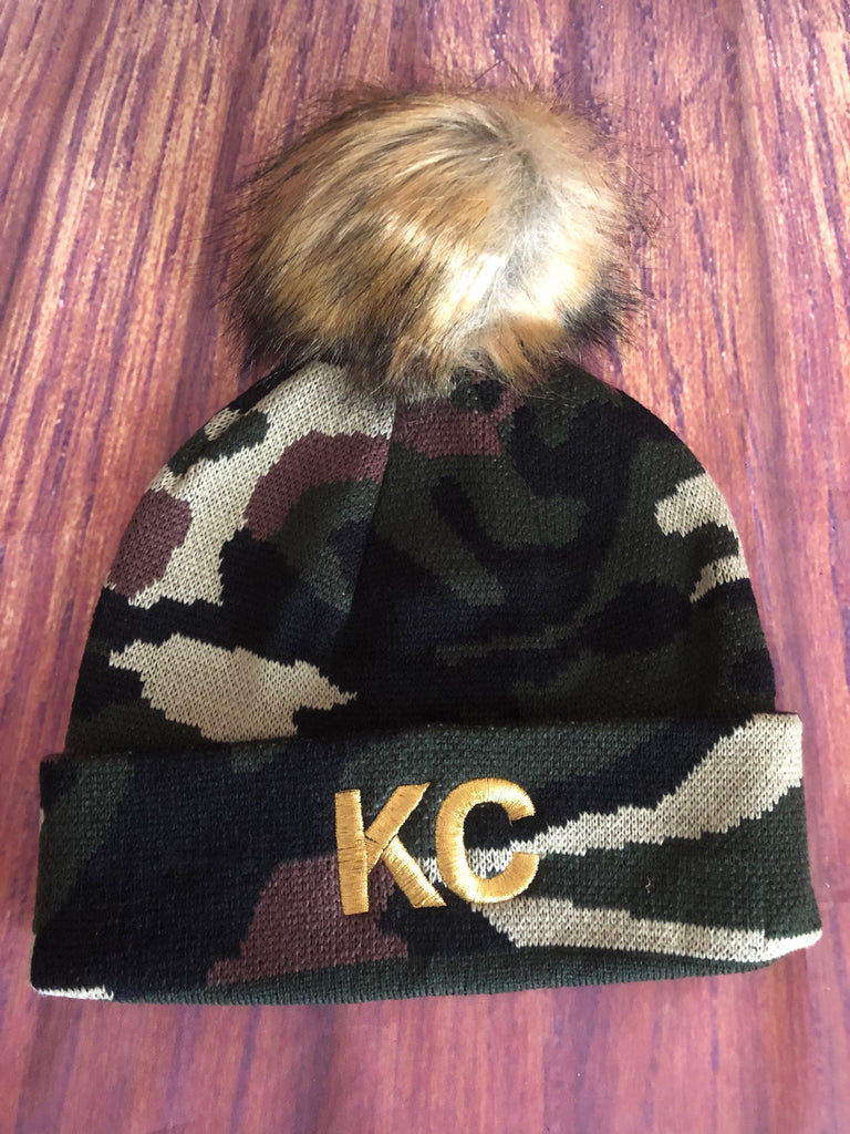 Gold Metallic Thread KC on Green Camo Stretch Pom Pom Beanie Hat