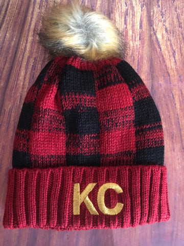 Gold Metallic Embroidered KC on Red/Black Plaid Fleece Lined Pom Pom Beanie Hat