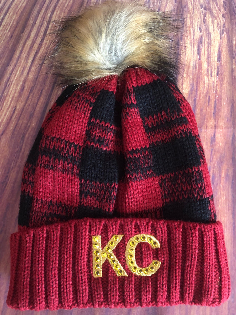 Gold Swarovski Crystals on Gold Metallic Embroidered KC on Red/Black Plaid Pom Pom Beanie Hat