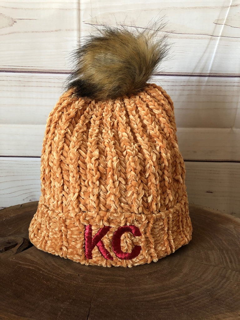 Red Metallic Thread KC on Yellow Gold Knit Fleece Lined Stretch Pom Pom Beanie Hat