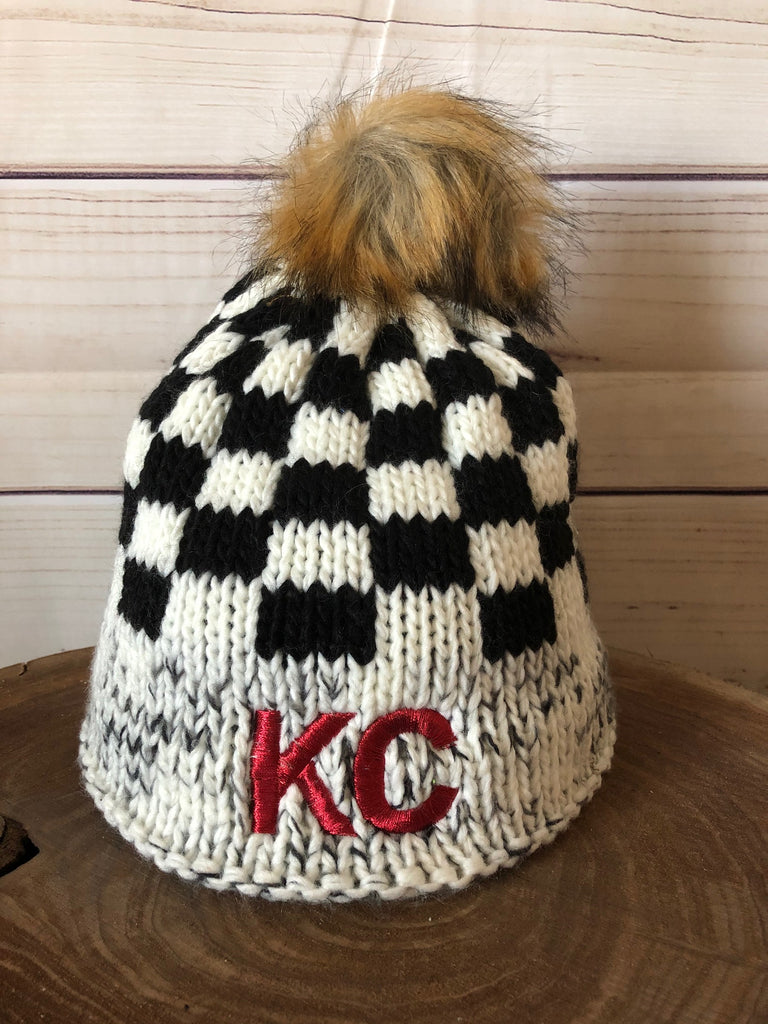 Red Metallic Thread KC on Black/White Plaid Fleece Lined Knit Stretch Pom Pom Beanie Hat