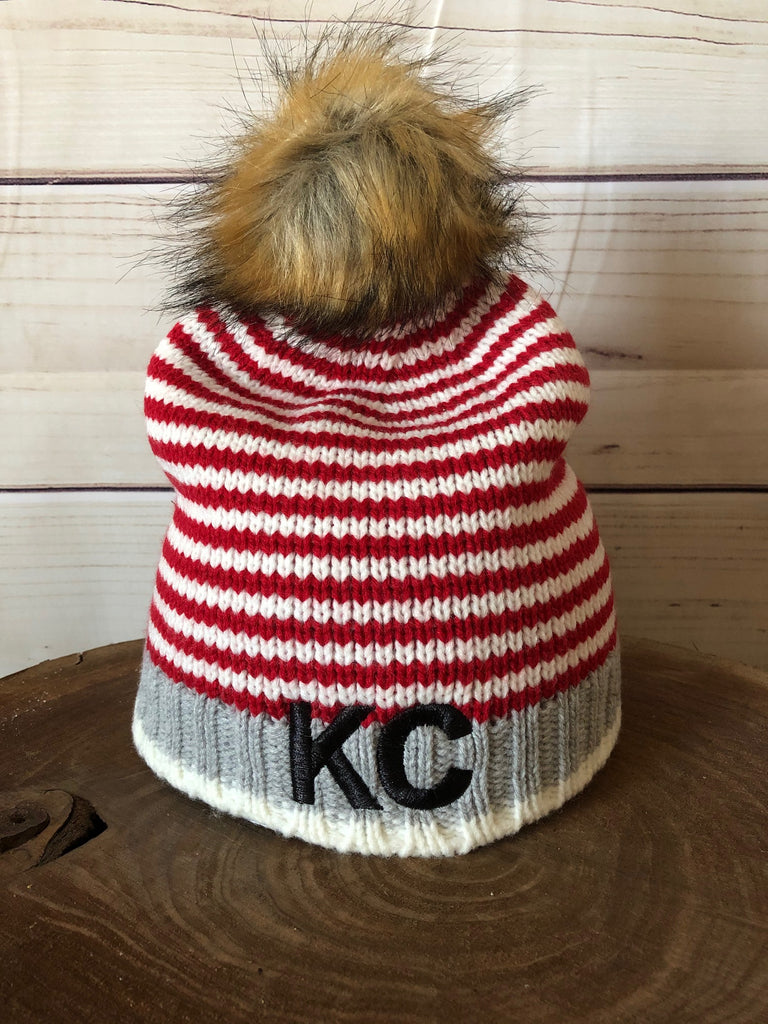 Black Metallic Thread KC on Red/White/Grey Stripe Fleece Lined Knit Stretch Pom Pom Beanie Hat
