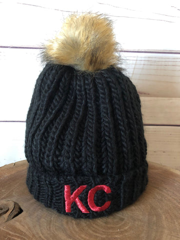 Red Metallic Thread KC on Black Cable Knit Fleece Lined Stretch Pom Pom Beanie Hat