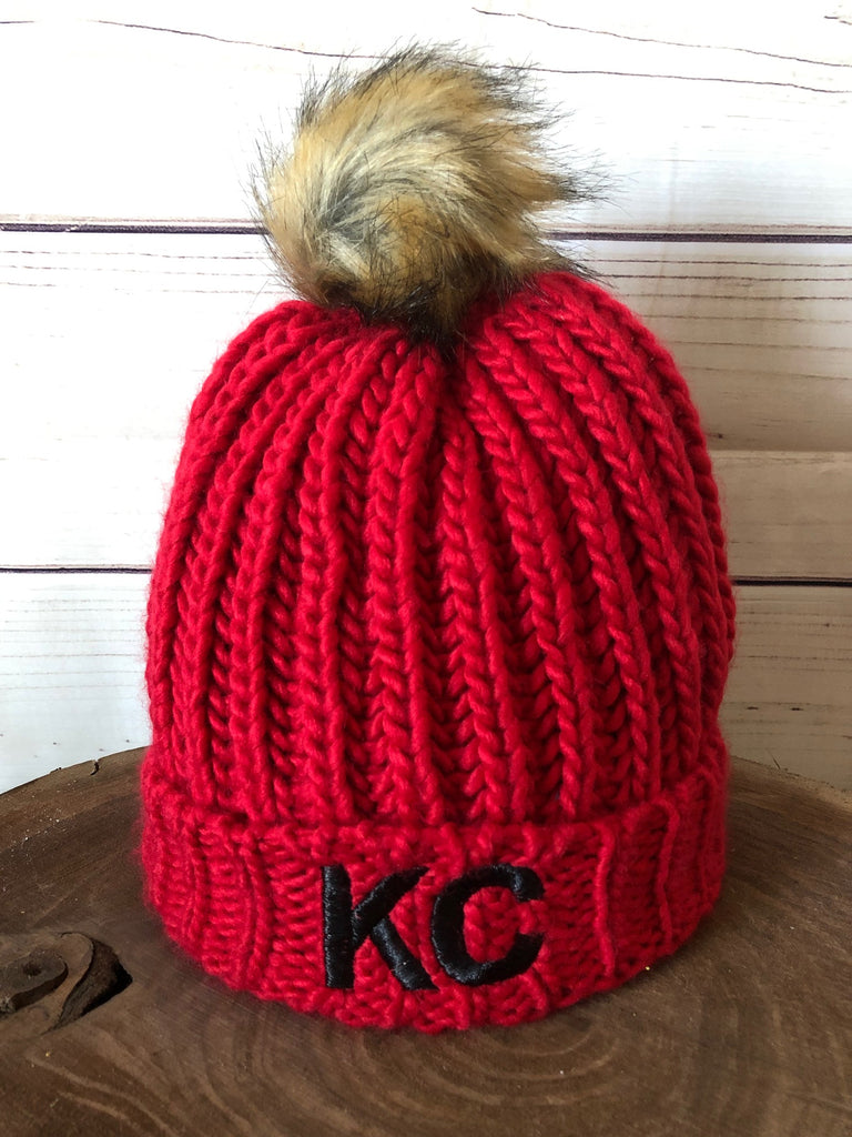 Black Metallic Thread KC on Red Cable Knit Fleece Lined Stretch Pom Pom Beanie Hat