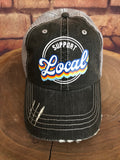 Support Local Design on a Distressed Grey Trucker Cap