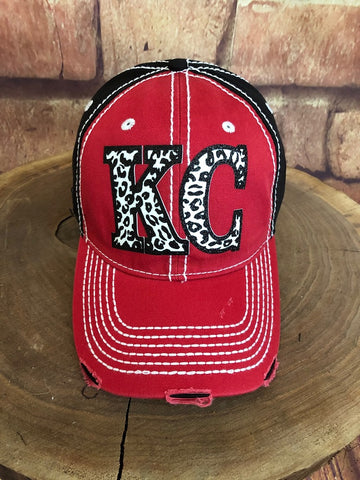 Black/White glitter Leopard print KC letters on Red/Black Baseball Cap