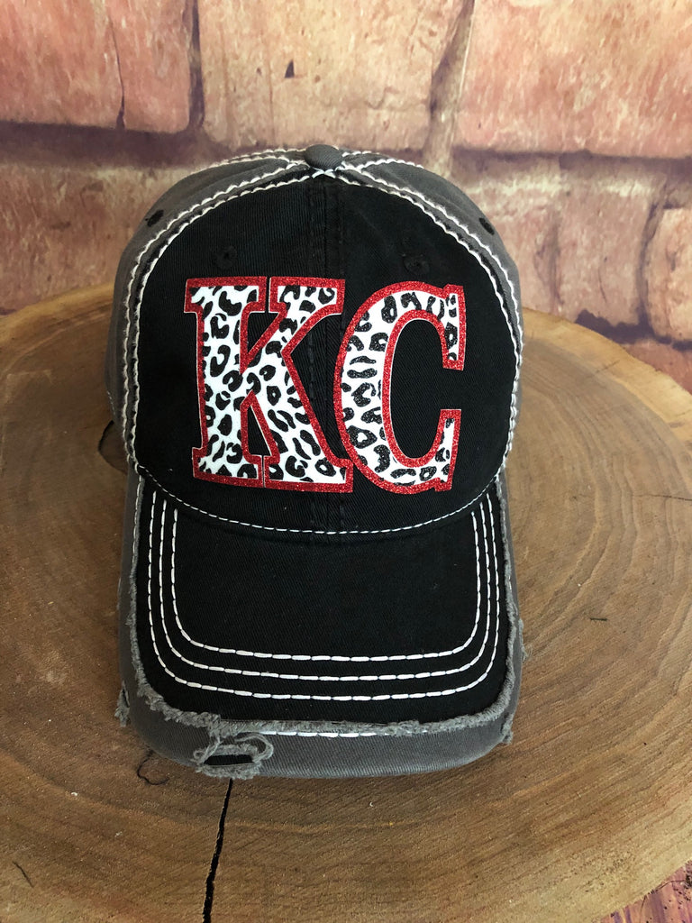 Black/White/Red glitter Leopard print KC letters on Black/Grey Baseball Cap