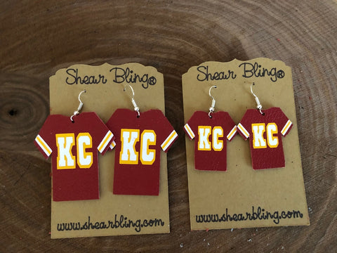KC on Red Jersey Leather Earrings Sports