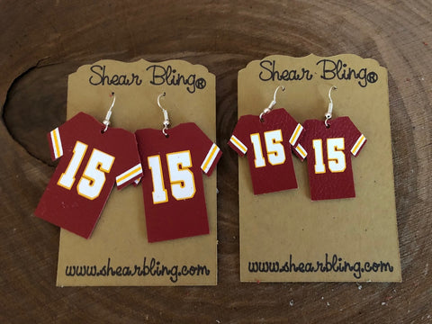 15 on Red Jersey Leather Earrings Sports
