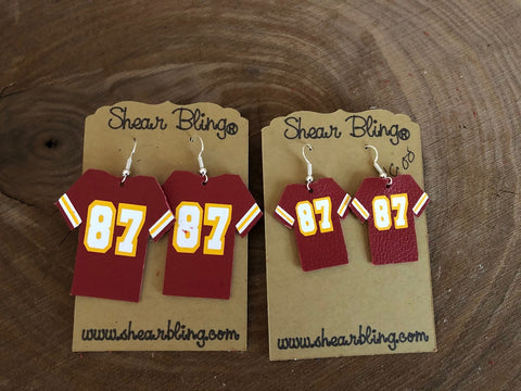 87 on Red Jersey Leather Earrings Sports